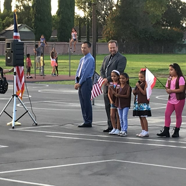 Faylane's Girl Scout troop led a presentation of colors to kick off back to school night with Special Guests Vice President of the School Board Lan Nguyen and Director Luisa Rogers.