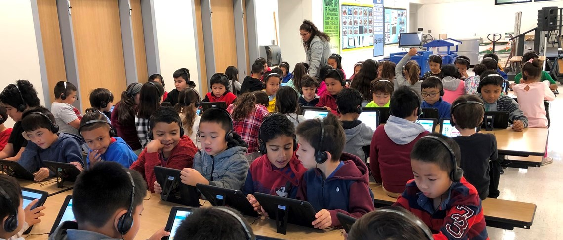 Faylane second graders participating in the worldwide Hour of Code